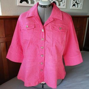 Pink Polka Dot Peplum Jacket